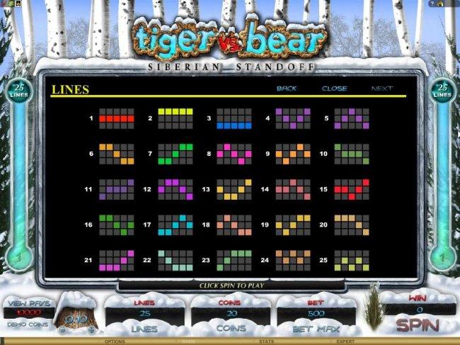 Free Slots 247 - Payline Diagrams 1-25