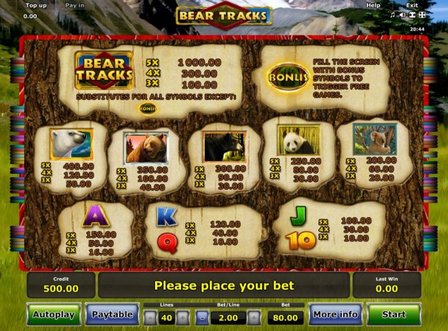Free Slots 247 - Slot game symbols paytable featuring bear inspired icons.