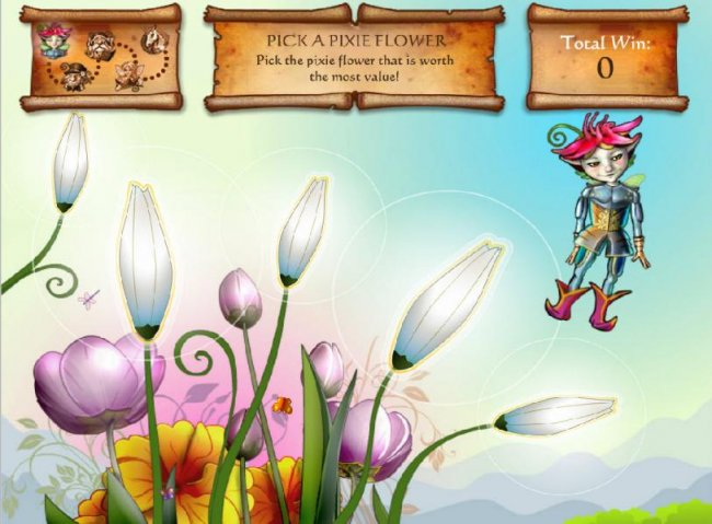 Free Slots 247 - enchanted quest bonus game - pick a pixie flower that is worth the most value.
