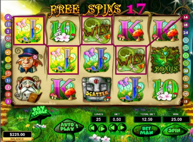four of a kind triggers a $25 jackpot during free spins feature - Free Slots 247