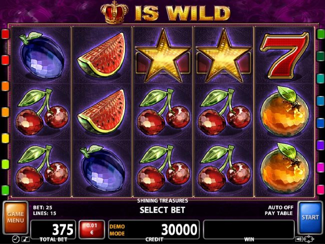 A fruit themed main game board featuring five reels and 15 paylines with a $62,500 max payout - Free Slots 247