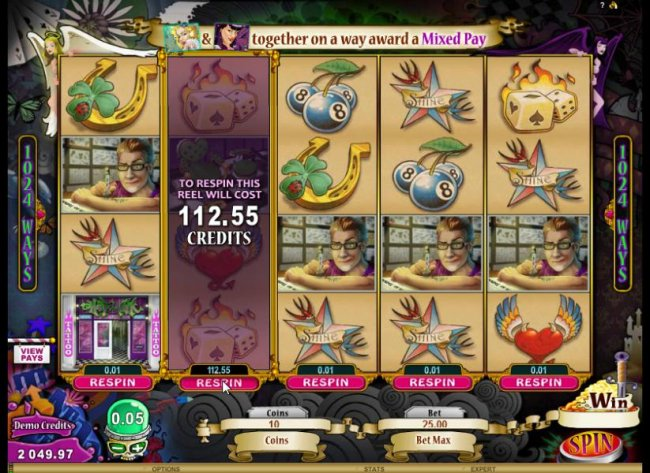 Free Slots 247 - To respin this reel will cost 112.55 credits