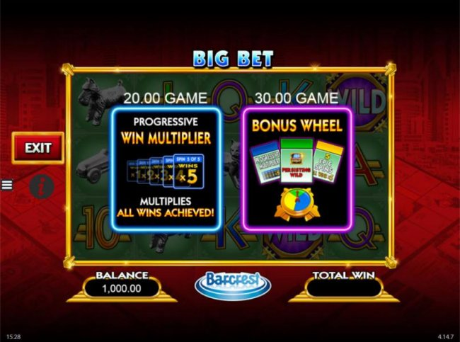 Free Slots 247 - Big Bet - select from the 20.00 or 30.00 game to play.