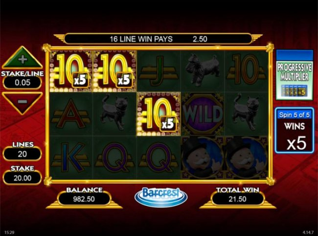 Free Slots 247 - Big Bet - Progressive Multiplier game board.  The multiplier is icreased with each successive winning spin