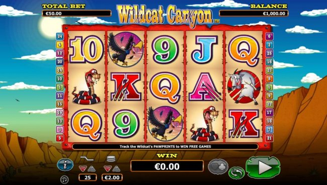 Main game board featuring five reels and 25 paylines with a $10,000 max payout by Free Slots 247