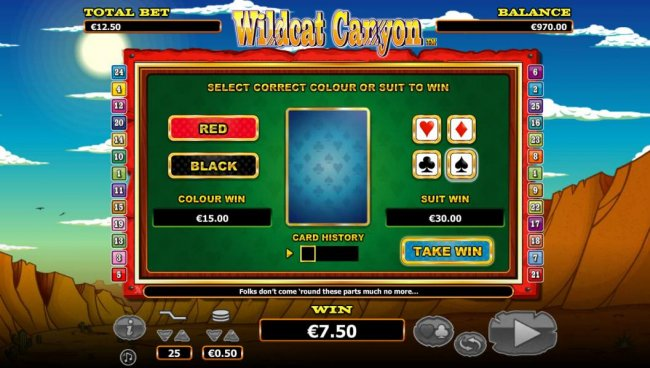 Gamble feature is available after each winning spin. Select color or suit to play. - Free Slots 247