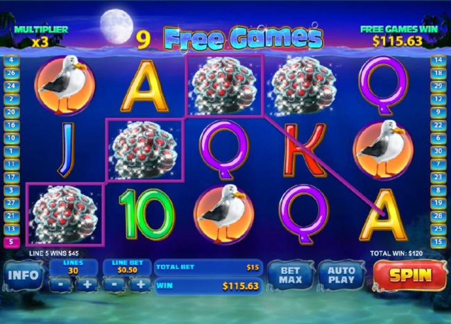 Free Slots 247 - free games feature game board - multiple winning paylines triggers a $120 jackpot