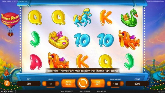 Free Slots 247 - Main game board featuring five reels and 50 paylines with a $75,300 max payout