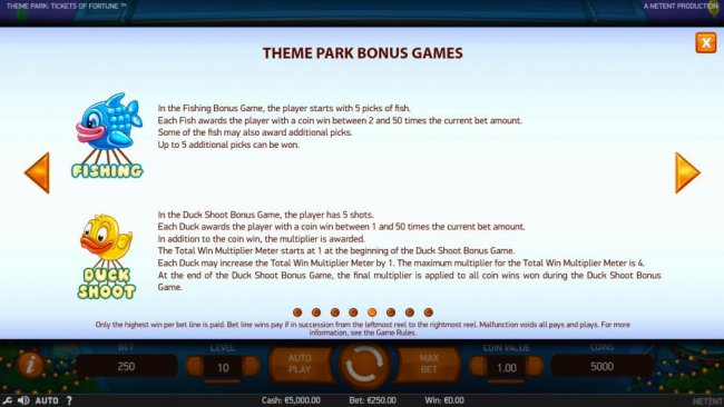 Free Slots 247 - Additional Theme Park Bonus Games include: Fishing and Duck Shoot.