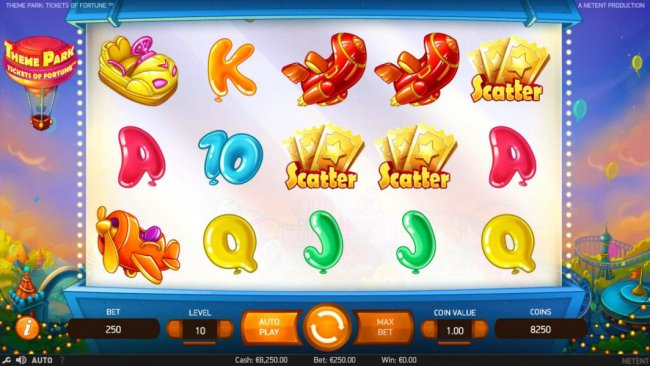Three gold ticket scatter symbols trigger the Theme Park Ticket Wheel feature. - Free Slots 247