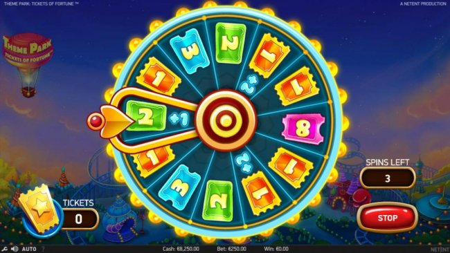 Stop the Theme Park Ticket Wheel to win as many tickets as possible for bonus game play. - Free Slots 247