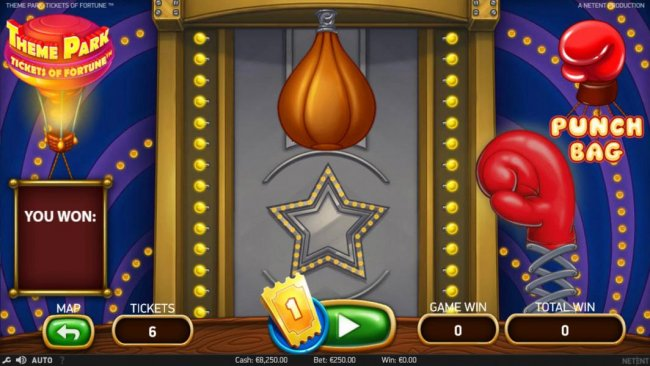 The Punch Bag game cost 1 ticket, hit the bag to win a prize. by Free Slots 247