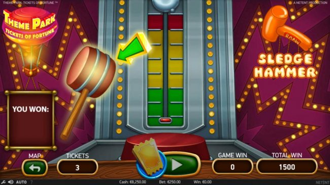 Free Slots 247 - For the cost of 3 tickets you can hit the sledge hammer game to win a prize.