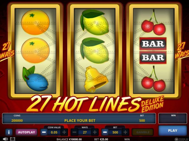 Free Slots 247 - Main game board featuring three reels and 27 paylines with a $5,400 max payout.