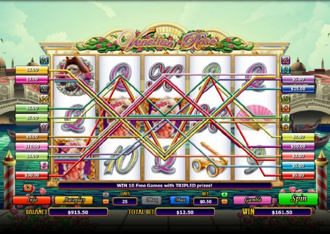 Free Slots 247 - multiple winning paylines triggers a $161 big win