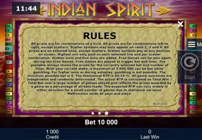 Free Slots 247 - General Game Rules - The theoretical average return to player (RTP) is 95.34%.