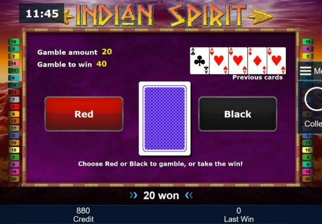 Gamble Feature - To gamble any win press Gamble then select Red or Black. by Free Slots 247