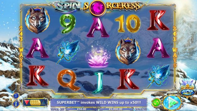 Free Slots 247 - Main game board based on an occult theme, featuring five reels and 243 winning combinations with a $1,000 max payout