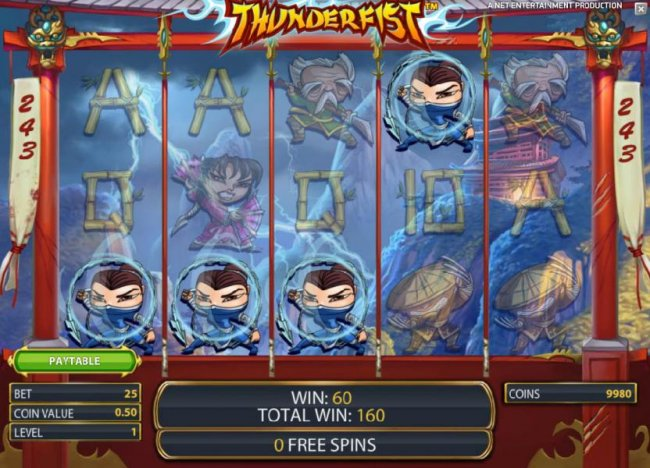 Free Slots 247 - four of a kind pays out 60 coins during free spins