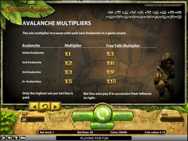 Gonzo's Quest slot game avalanche multipliers by Free Slots 247
