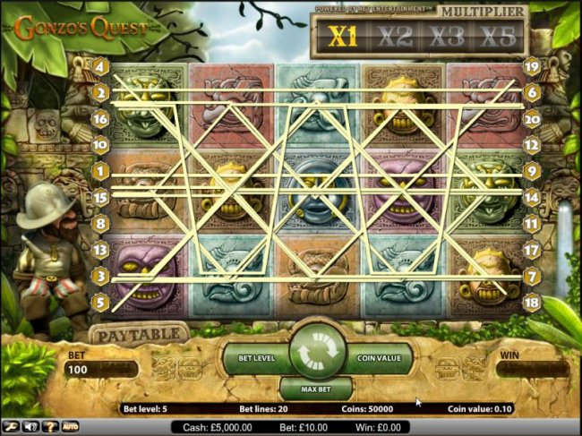 Free Slots 247 - Gonzo's Quest slot game paylines