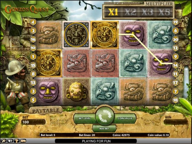 Free Slots 247 - Gonzo's Quest slot game bonus round triggered