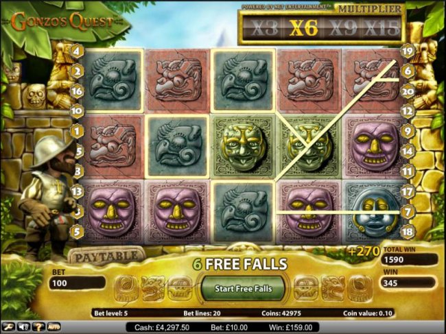 Gonzo's Quest slot game free spins feature 270 coin jackpot - Free Slots 247