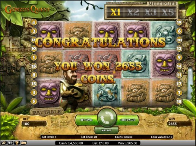 Free Slots 247 - Gonzo's Quest slot game you won 2655 coins during the free spins feature
