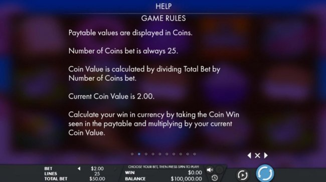 Paytable values are displayed in coins. Number of coins bet is always 25 by Free Slots 247