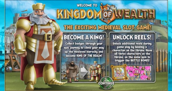 The exciting Medieval slot game! Become a king! collect badges through your epic journey to climb your way up the medieval hierachy and become king of the realm. Unlock Reels! Unlock additional reels during game play by landing a character on the throne.
