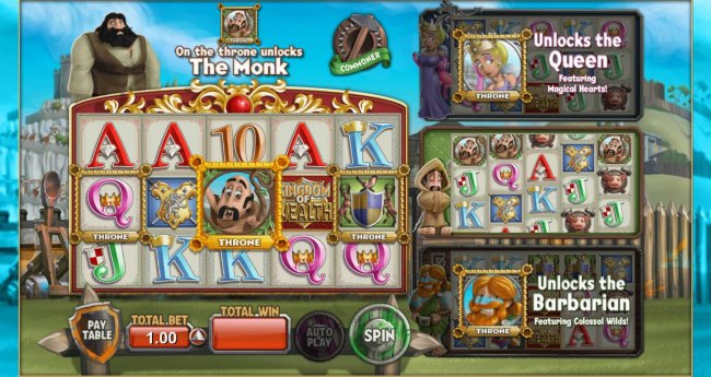 Monk on the throne unlocks the Monk feature by Free Slots 247
