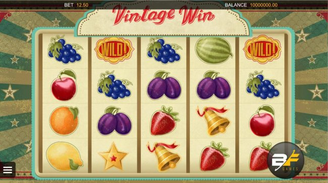 A fruit themed main game board featuring five reels and 20 paylines. by Free Slots 247