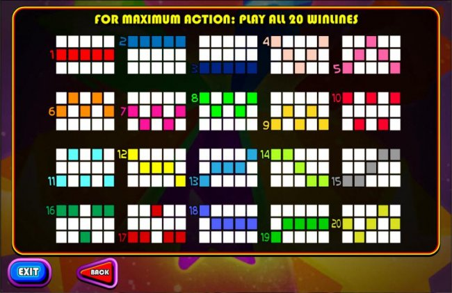 Free Slots 247 - Payline Diagrams 1-20. For maxium action: play all 20 paylines.