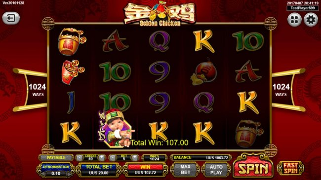 Free Slots 247 - Winning symbol combinations triggers a 107.00 payout.