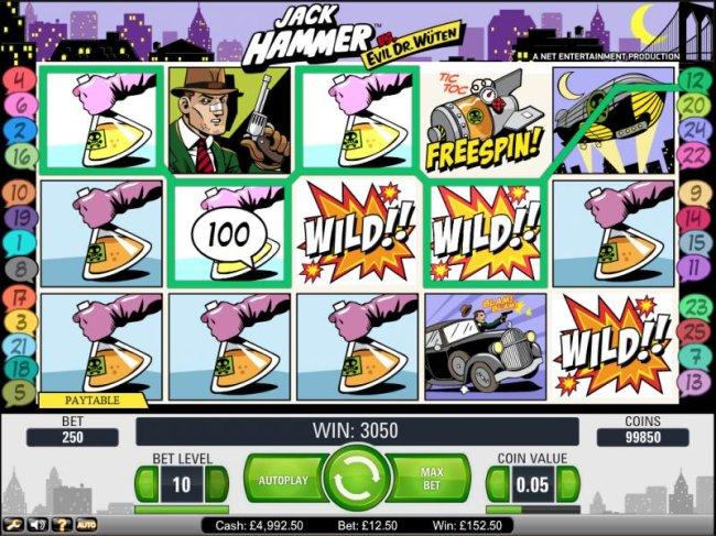 Jack Hammer Vs. Evil Dr. Wuten by Free Slots 247