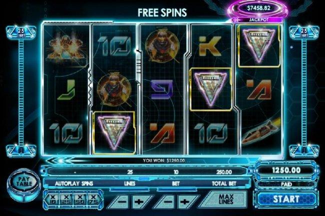 Free Slots 247 - Three chevron shield symbols triggers free spins.