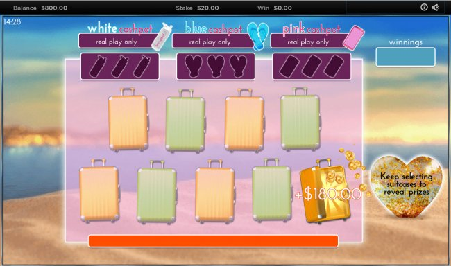 Pick suit cases to reveal cash prize by Free Slots 247