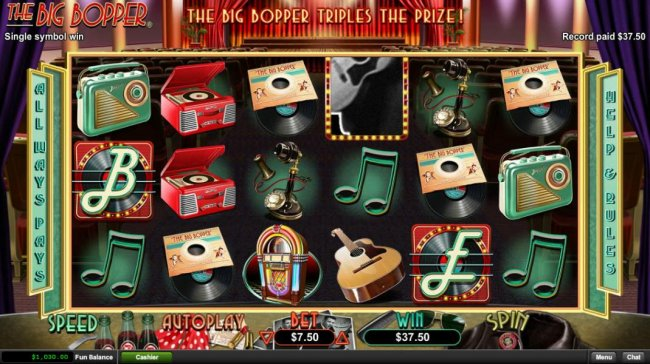 Free Slots 247 - A winning combination of big bopper record albums triggers a modest payout.