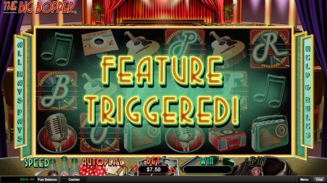 Feature is triggered when BOPPER is spelled out across the reels. - Free Slots 247