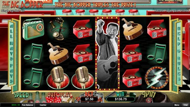 A stacked Big Bopper wild symbol triggers a big win during the White Lightnin free games feature. - Free Slots 247