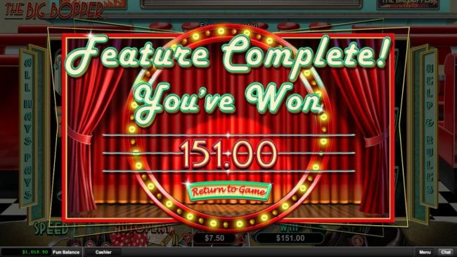 The free games feature pays out a total of 151.00 - Free Slots 247