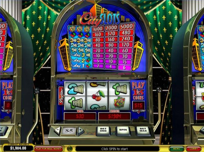 Free Slots 247 - Main game board featuring three reels and a single payline with a $25,000 max payout