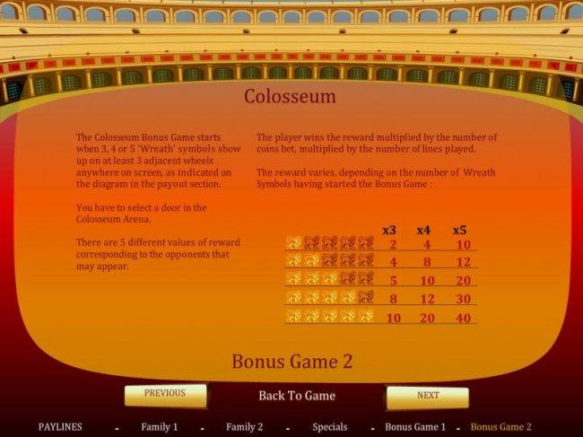 Free Slots 247 - Colosseum  bonus game rules