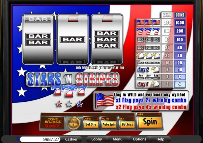 Free Slots 247 - main game board featuring three reels and a single payline