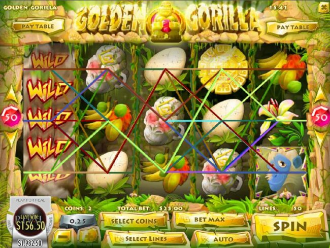 An expanded wild on reel 1 triggers multiple winning paylines by Free Slots 247