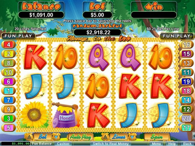 A bee keeper themed main game board featuring five reels and 20 paylines with a $250,000 max payout by Free Slots 247