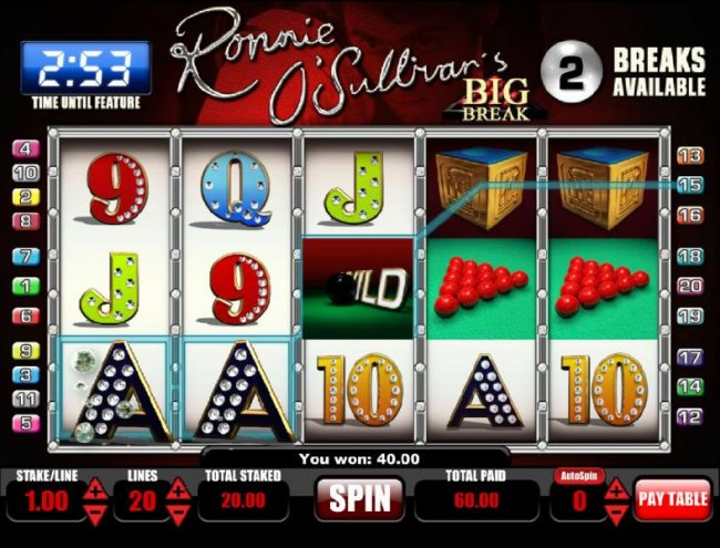 60.00 jackpot triggered by multiple winning paylines - Free Slots 247