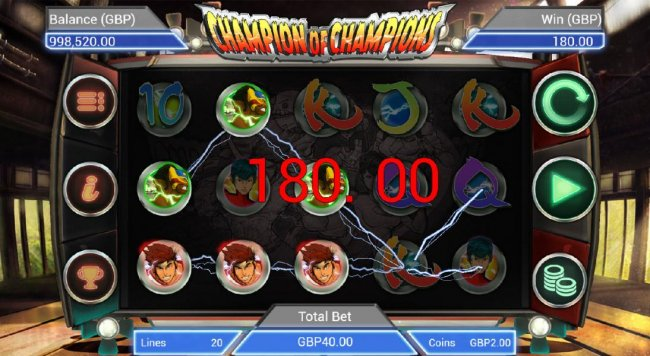Multiple winning paylines triggers a 180.00 jackpot pay out. - Free Slots 247
