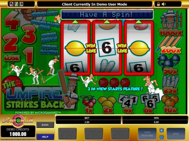 Free Slots 247 - main game board featuring 3 reels and one payline