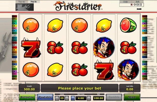 Free Slots 247 - A devilish themed main game board featuring five reels and 25 paylines with a $100,000 max payout